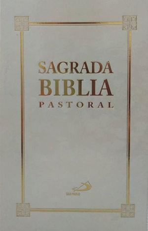SAGRADA BIBLIA PASTORAL BLANCA, SIN MOTIVO CANTO DORADO